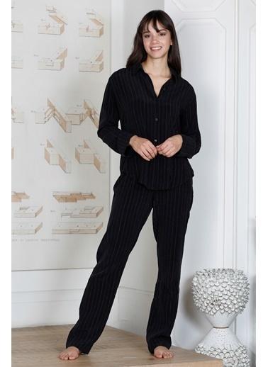 Hays Kadın Simli Cupro 2li Uzun Pijama Takımı Siyah